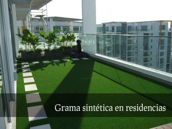 grama artificial en uso residencial